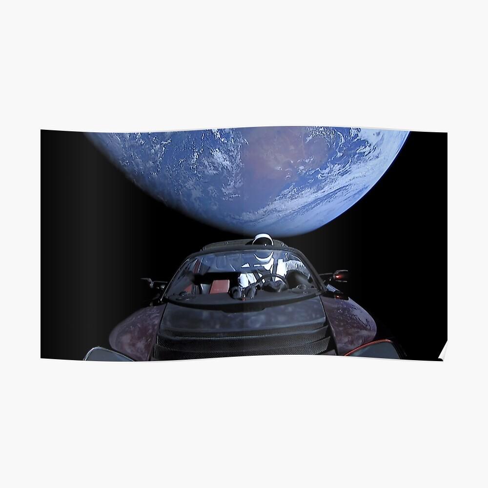 SpaceX's Starman verlässt die Erde Poster