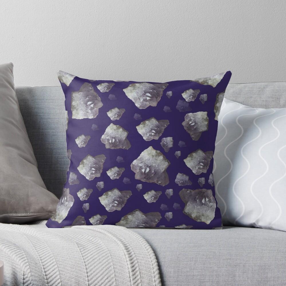 Amethyst chunks Throw Pillow