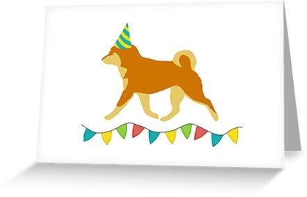 Shiba Inu Red Birthday Card
