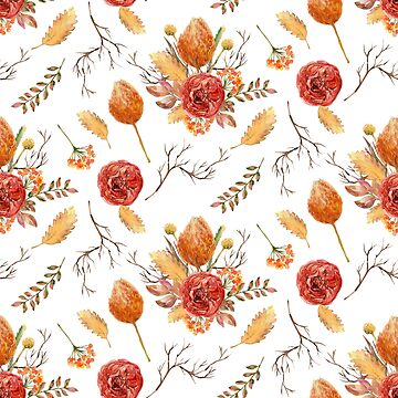 Watercolour Autumn Flowers - 3 by Taz-Clothing