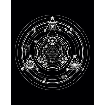 Sacred geometry art inspired by magic circles and math art, black and white geometric by GeometricEye