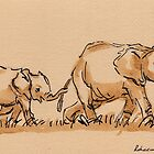 Mommy: Elephants Watercolor Painting #9 by Rebecca Rees
