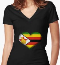 Zimbabwe Heart Flag Women's Fitted V-Neck T-Shirt