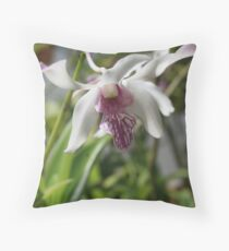 White Orchid with Purple Tips Throw Pillow