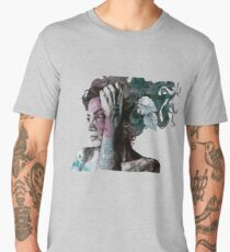 Beneath Broken Earth (street art drawing, woman with leaves and tattoos) Men's Premium T-Shirt