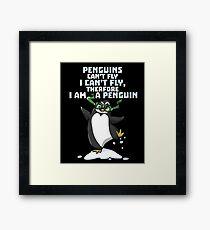 Funny Penguin Cartoon Graphic Design Framed Print