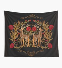 Two Stags Protecting The Dark Forest Gate Wall Tapestry