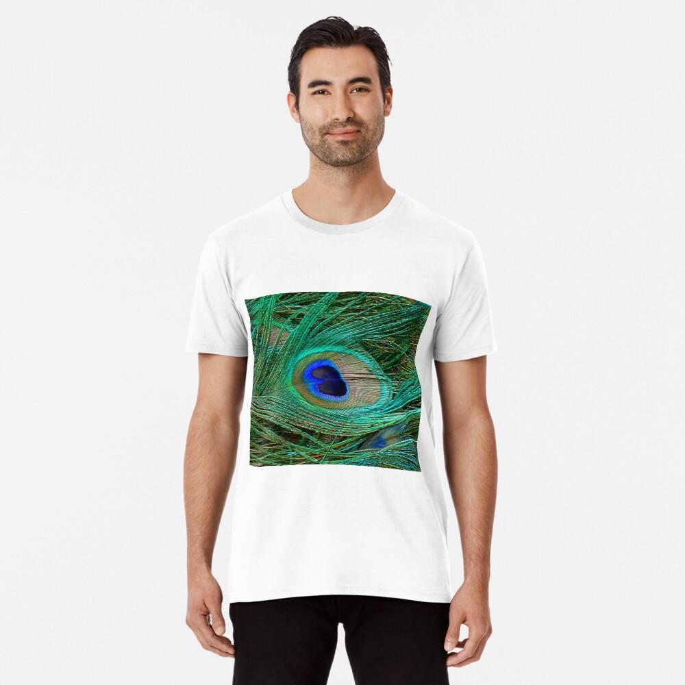 Indischer blauer Pfau-Federmakro-Druck Premium T-Shirt