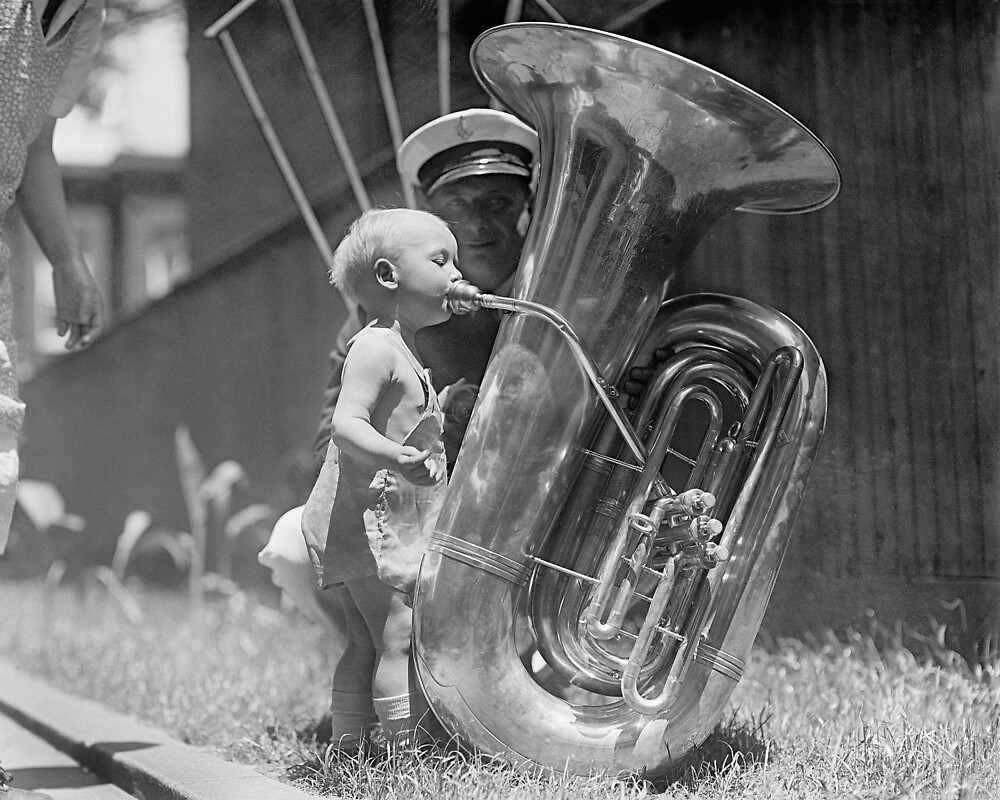 """""""Baby Playing Tuba, 1923"""" by historyphoto   Redbubble"""
