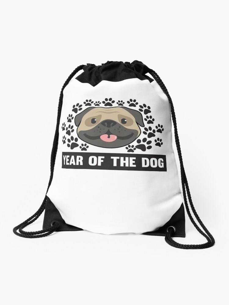 ce4ba92bf Year Of The Dog Chinese New Year 2018 Cute Pug Paw Print T-Shirt Drawstring