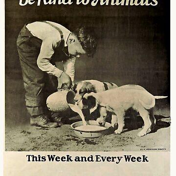 Vintage Be Kind To Animals Black & White by marlenewatson