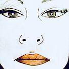 1980s Retro Art Face Drawing by Lynda Anne Williams