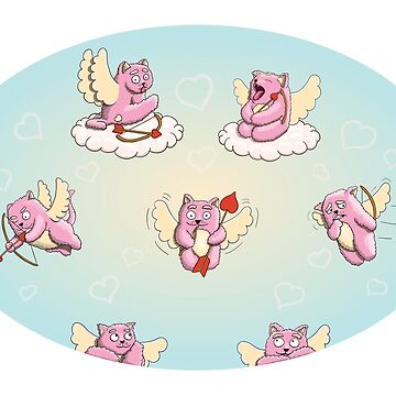 Valentines Day, Valentines Cupid Cats with Cupid Arrows and Bows by illumylov