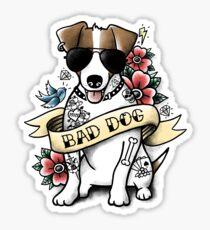 Bad dog jack russell terrier tattoo Sticker
