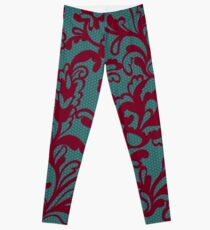 Red lace pattern Leggings
