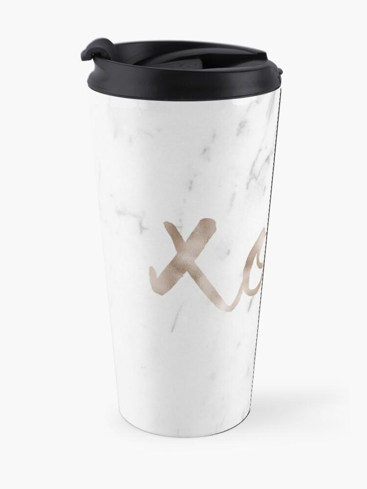 Alternate view of Rose gold marble XOXO Travel Mug