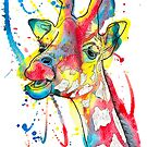 Giraffe Watercolour and Pen Illustration by LPDesignsAndArt