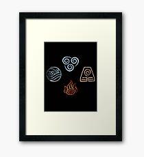 The four Elements Avatar symbols Framed Print