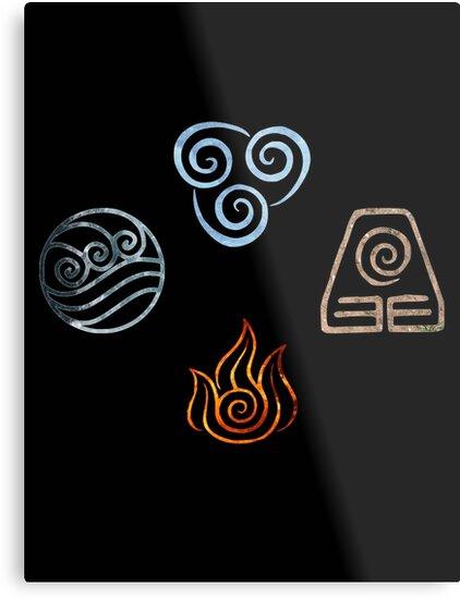 The Four Elements Avatar Symbols Metal Prints By Colferninja