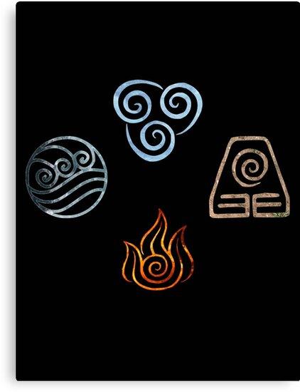 The Four Elements Avatar Symbols Canvas Prints By Colferninja