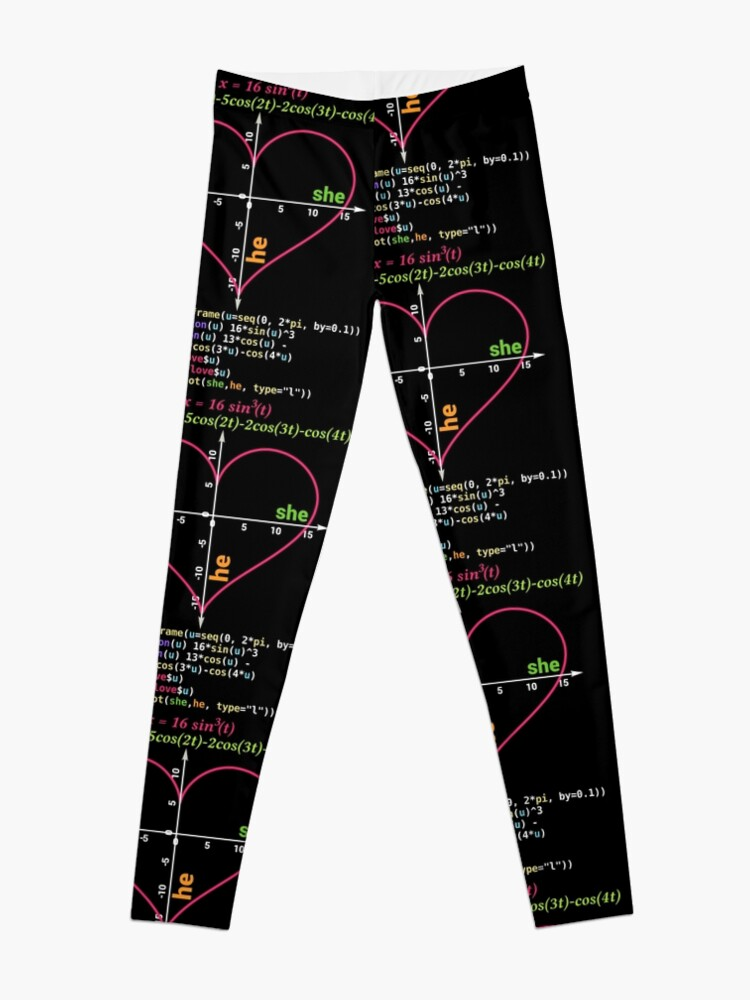 80af41e365ed8 Geeky Nerdy Math Lover Valentine Heart Drawn on Coordinate System Leggings