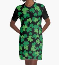 St. Patricks day clover pattern Graphic T-Shirt Dress