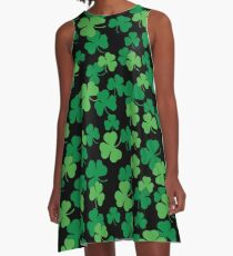St. Patricks day clover pattern A-Line Dress