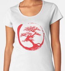 Zen Bonsai Tree in Enso Circle (red) Women's Premium T-Shirt
