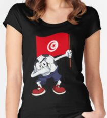 Tunisia Dabbing Soccer Ball Women's Fitted Scoop T-Shirt