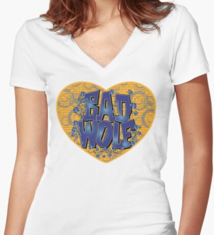 Love The Bad Wolf (Light colours) Fitted V-Neck T-Shirt