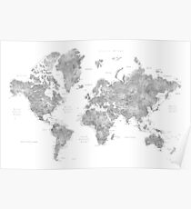 Grayscale watercolor world map with cities Poster