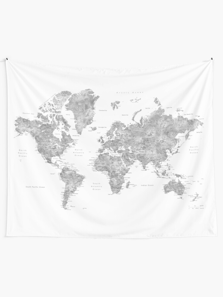 Alternate view of Grayscale watercolor world map with cities Tapestry