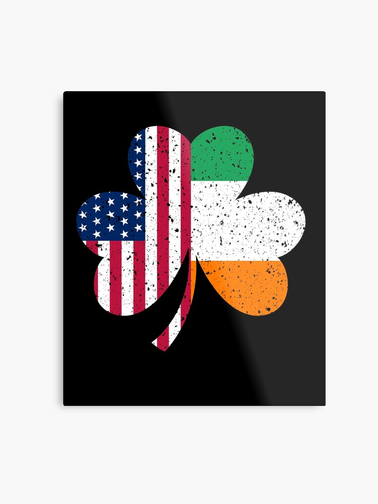 80d9397a4bc0 Irish American Flag Shirt - Vintage Shamrock St Patricks Day T Shirt Metal  Print