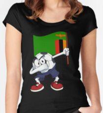 Sambia Dabbing Fussball Tailliertes Rundhals-Shirt