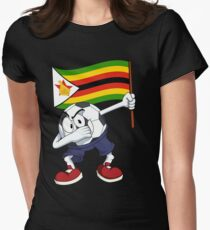 Zimbabwe Dabbing Soccer Ball Women's Fitted T-Shirt