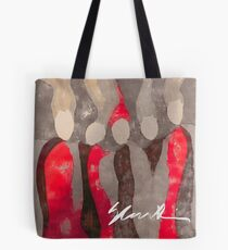 Women in Gray and Red Tote Bag