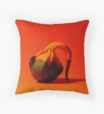 Gooseneck Gourd on Orange Background Throw Pillow