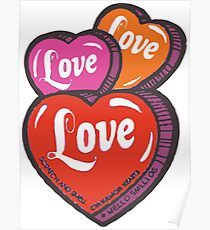 Love Hearts Valentines Cute 1980s Candy Kawaii Poster
