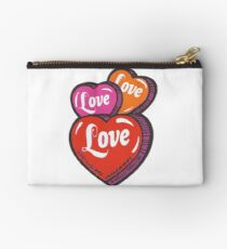 Love Hearts Valentines Cute 1980s Candy Kawaii Studio Pouch