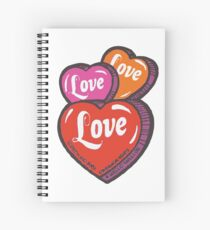 Love Hearts Valentines Cute 1980s Candy Kawaii Spiral Notebook