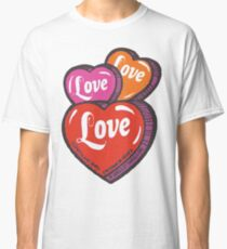 Love Hearts Valentines Cute 1980s Candy Kawaii Classic T-Shirt
