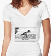 T-Rex on a Penny Farthing Women's Fitted V-Neck T-Shirt