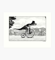 T-Rex on a Penny Farthing Art Print
