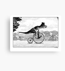 T-Rex on a Penny Farthing Canvas Print