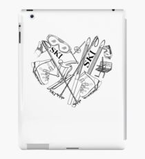 Ski Gifts with Ski Goggles, Ski Poles, Ski Boots Line Drawings in a Heart Shape. iPad Case/Skin
