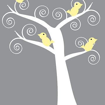 Five Yellow Birds White Tree Gray by ValeriesGallery
