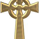 Golden 3-D Look Celtic Cross by Artist4God