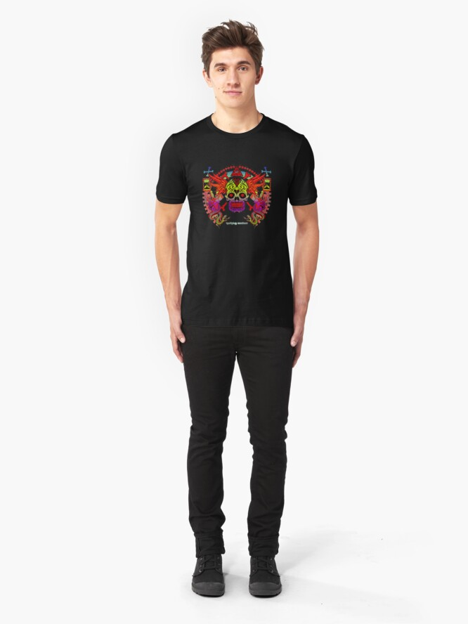 Alternate view of Sugar Skull Day Of The Dead Traditional Tattoo Vintage Flash Slim Fit T-Shirt