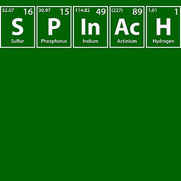 Spinach (S-P-In-Ac-H) Periodic Elements Spelling by cerebrands