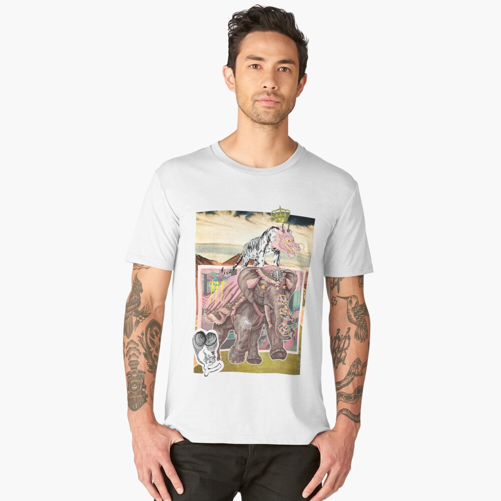 Surreal Abstract Art Tiger & Elephant Collage Design Men's Premium T-Shirt Front